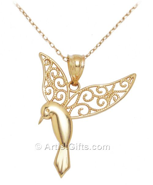 14k Gold Hummingbird Necklace. Delicate filigree hummingbird jewelry. Made in the U.S.A. Free US Shipping.