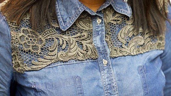 Customisation chemise en jean avec dentelle grise   Kustom Couture