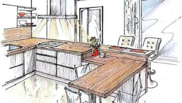 Top in cucina: progetto su disegno, per top conformato a U con piano snack e top-tavolo a penisola. Altezze e materiali differenziati: per individuare le zone operative.