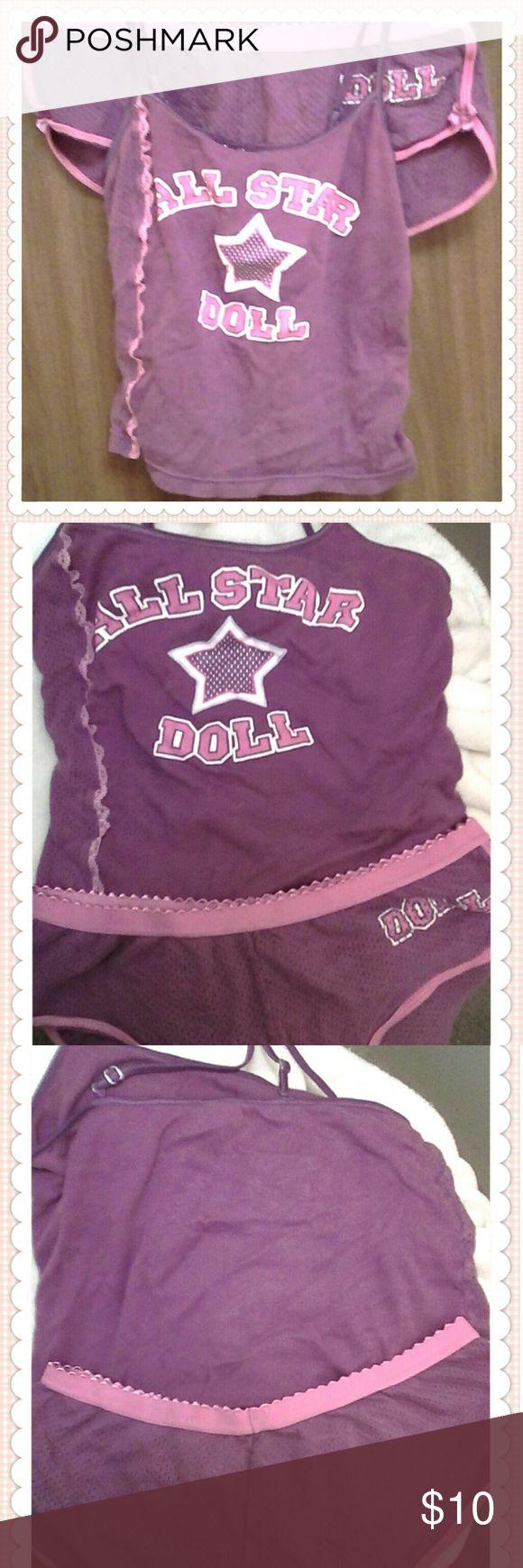 Ladies pajama set~ Pink and purple ladies sleepwear set~Cami tank top with adjustable straps and short shorts for those hot Summer nights!! No Boundaries Intimates & Sleepwear Pajamas