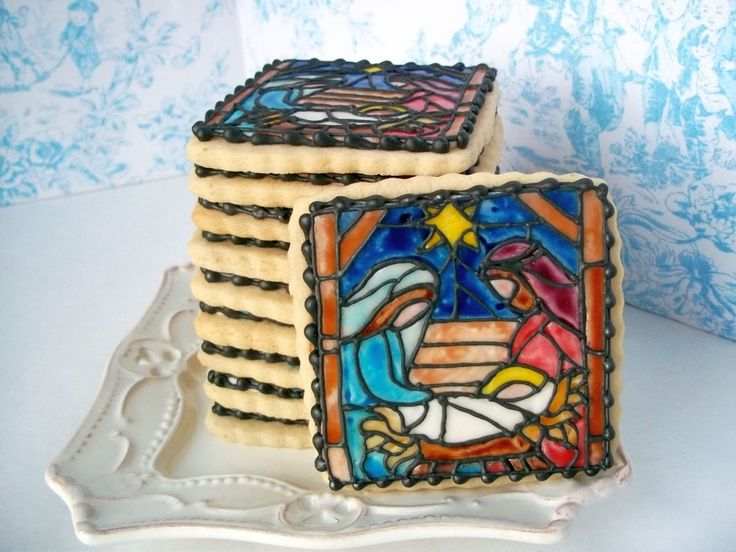 Stained Glass Nativity  on Cake Central