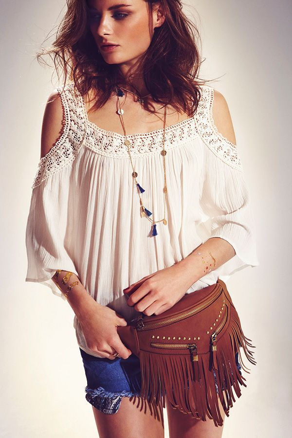 Tip: Turn an outfit into a festival look, just with a few accessories, like a beaded necklace and fringed bum bag. #newlook #accessories