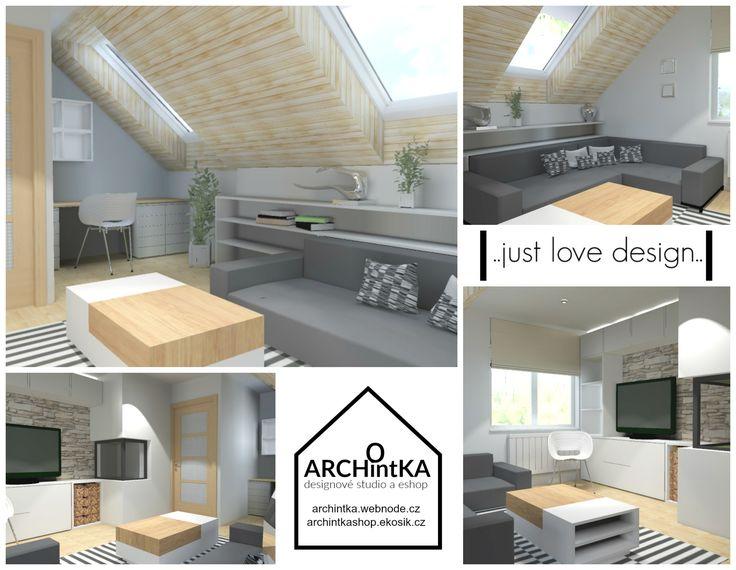 podkrovní obývací pokoj