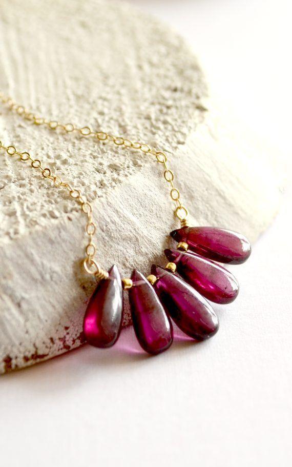 Rhodolite garnet necklace gold
