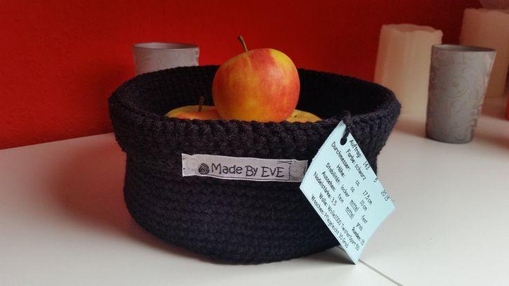 Körbe - Körbchen mit Umschlag L gehäkelt schwarz 18 cm - ein Designerstück von…
