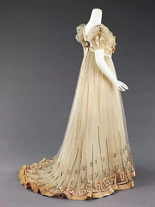 Evening Dress, designed by Mme. Jeanne Paquin, House of Paquin, France, ca. 1905-7...silk, silver, rhinestones, The Metropolitan Museum of Art.
