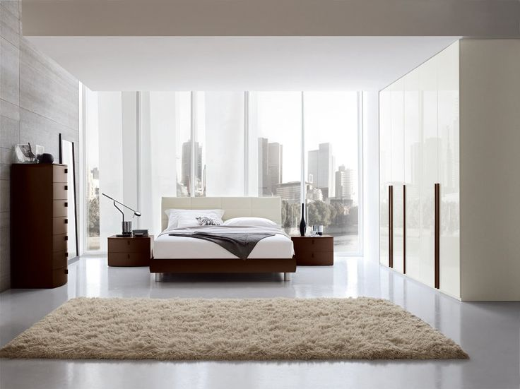 City View Apartment Bedroom Modern Design With White Granite Flooring Plus  Wooden Wall And Glossy Wardrobe