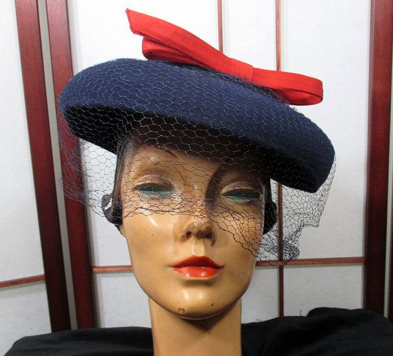 Homefront Honey  1940s Blue Felt Hat with Red Bow by Neumann-Endler