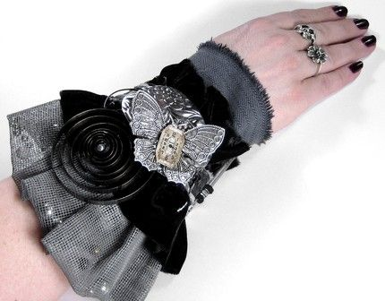 """Steampunk Wearable Art - Textile Cuffs with Focus""                        edmdesigns and 1/2 Street Studio are proud to showcase an all NEW CONCEPT and APPROACH in the realm of Steampunk, Industrial,"