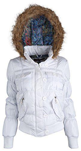 Urban Republic Junior Womens Hooded Down Alternative Winter Puffer Bomber Jacket - White (Large)