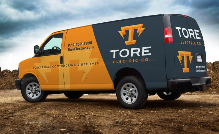 This eye-catching vehicle wrap for Tore Electric Co. makes a statement as it rolls through New Jersey. After all, the best vehicle wraps use simple, easy-to-read graphics. - NJ Advertising Agency, NJ Ad Agency, NJ Web Design, NJ Logo Design | Graphic D-Si