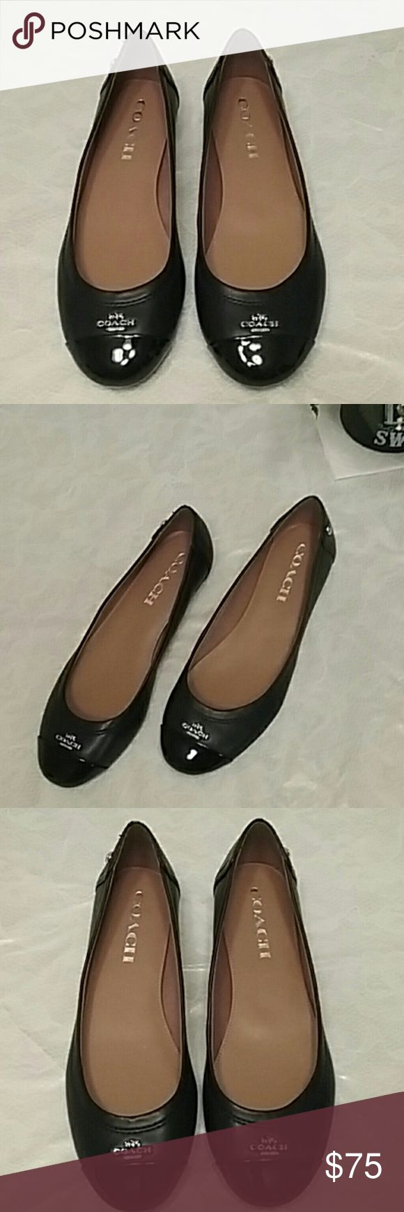 NEW Coach flats Brand new super cute black Coach flats insole is tan and says coach. On the top of toes it says coach and has the coach logo. NEW NEW NEW Coach Shoes Flats & Loafers