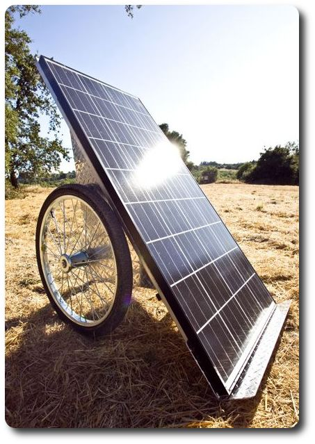 Portable solar panel for power needs, move it as needed with the rotation of the sun.