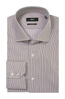 Regular fit business shirt 'Gerald' with shark collar, Dark Brown