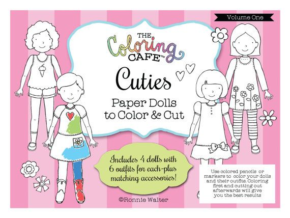 The Coloring Cafe TM Cuties Paper Dolls