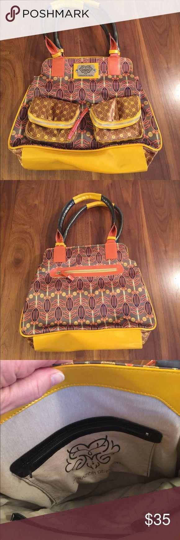 """Corazon De Melon Satchel Colorful satchel with double shoulder straps. Magnetic closure. Small mark on bottom. 11"""" x 15"""". 9"""" shoulder drop. Corazon de Melon Bags Satchels"""