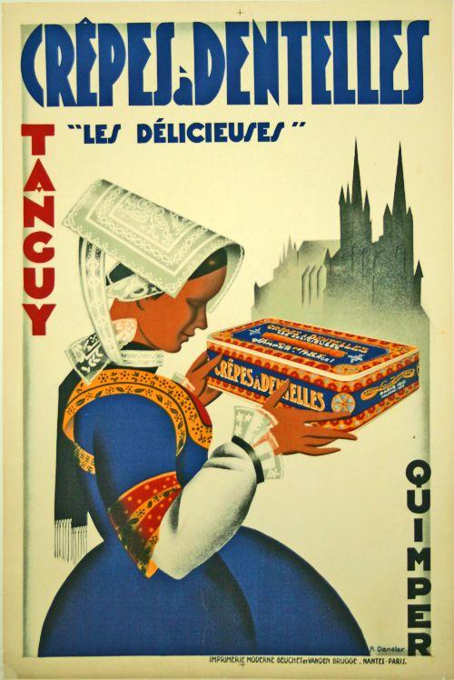 Crépes à Dentelles Tanguy -  Quimper - Bretagne - 1930 - illustration de  R. Dansler -