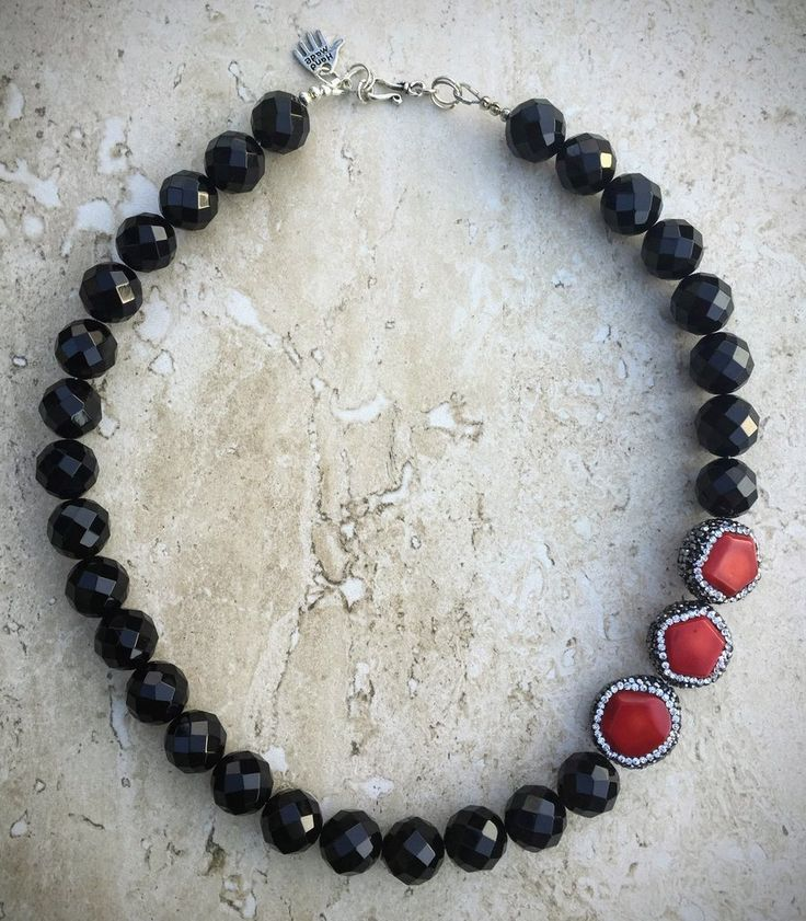 Onyx Necklace, Paved Red Coral Necklace, Statement Necklace, Black Necklace, Sterling Silver Necklace, Party Necklace
