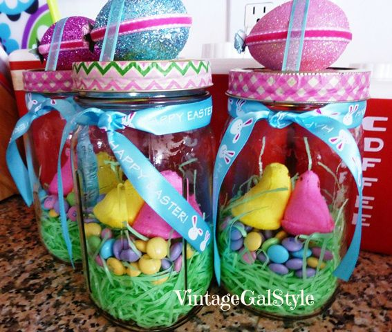 Dress up mason jars for Easter with glitter eggs & candy nests.