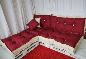 green pallet divano ecologico tabouret cotone riciclato bordeaux e panna