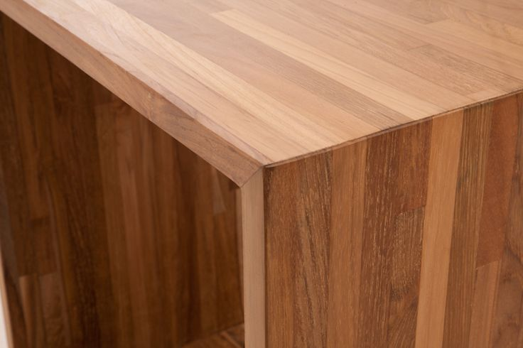 Tira Cubes.  Made with salvaged strips of teak creating multi-toned surfaces.