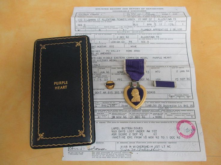 Authentic US Military Purple Heart Medal Ribbon Pin Case Box And Papers by FindingThingz on Etsy