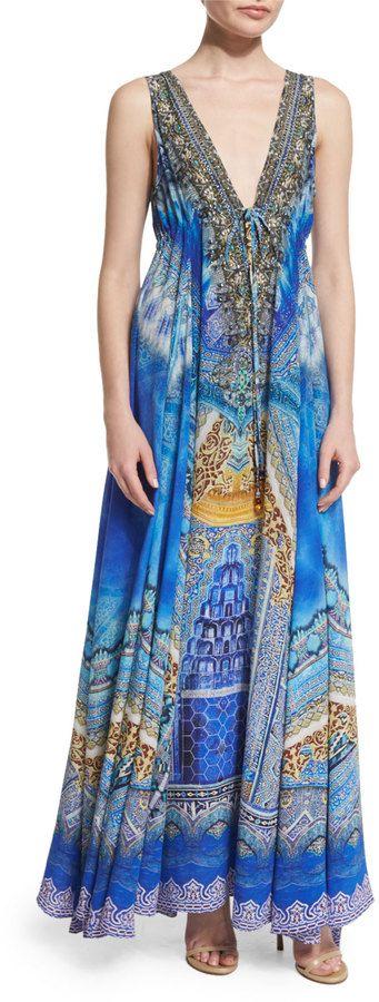 Camilla Embellished Flowy Maxi Dress, Palace of Dreams $700