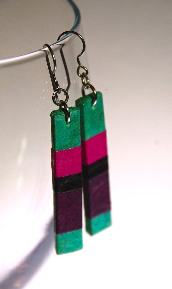 Aqua Fuchsia Purple Striped Hanji Paper Earrings OOAK by HanjiNaty