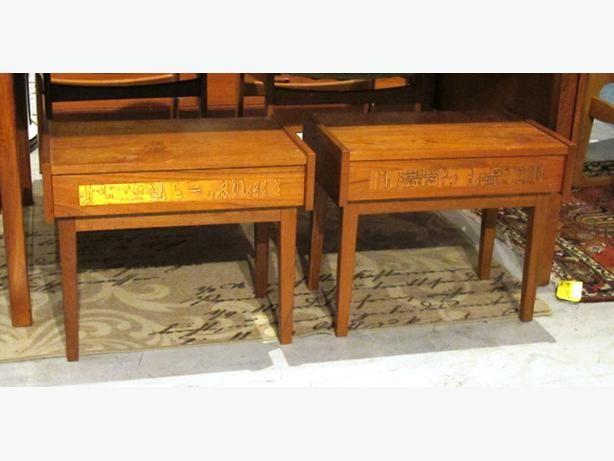 Vintage Teak Art Copper-Inlaid End Table (I-47640)