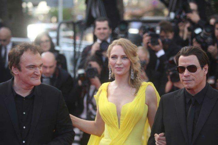 Quentin Tarantino, Uma Thurman e John Travolta a Cannes 2014