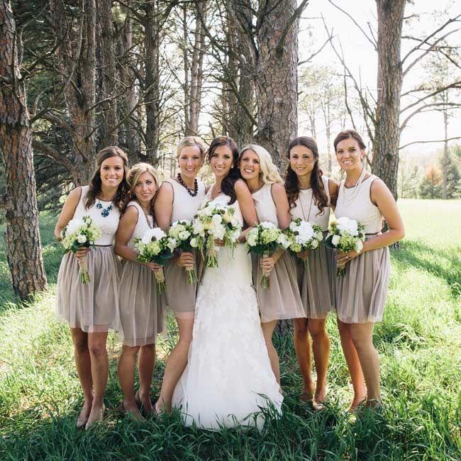 Two Toned Bridesmaid Dresses Allison Garrett Photographer Www Theknot Bridesmaids Pinterest Wedding And