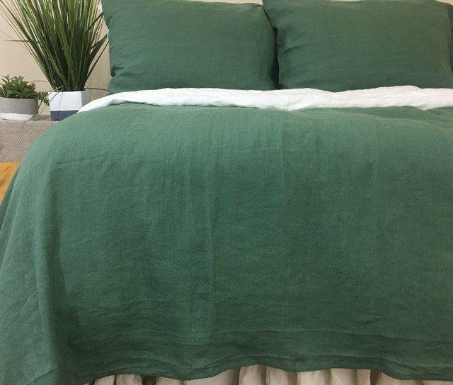 Forest Green Linen Duvet Cover Green Duvet Covers Green Duvet Bed Linens Luxury