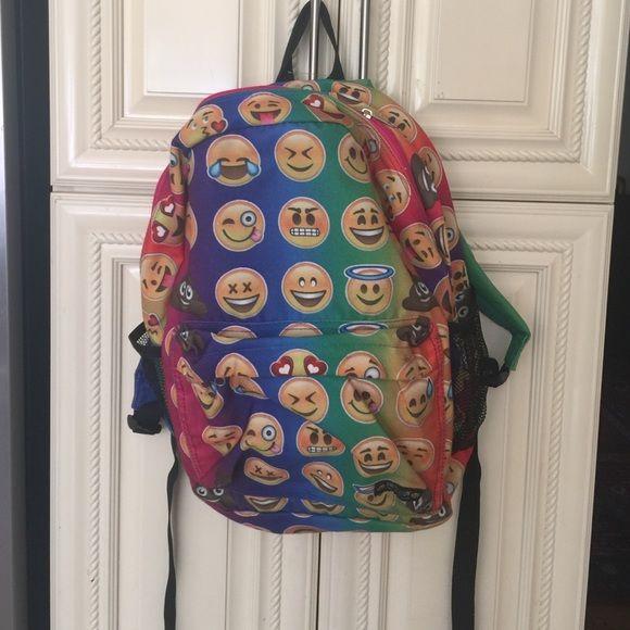 Emoji backpack His is brand new but got dirty in the closet.  Box64A Emoji Bags Backpacks