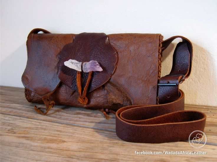 Handmade Woodland Boho Hippie Shoulder Sling Festival Pouch with Amethyst Crystal Toggle made from Repurposed Upcycled Deerskin Leather by WadadaAfrica on Etsy