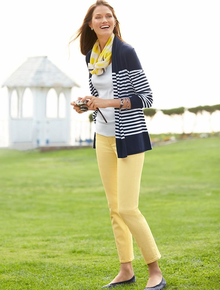 Navy blue and white blocked stripes cardigan