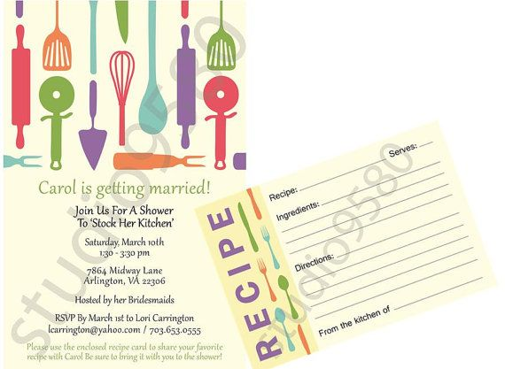 Printable 'Stock the Kitchen' Bridal Shower Invitations with Matching Recipe Cards on Etsy, $50.00