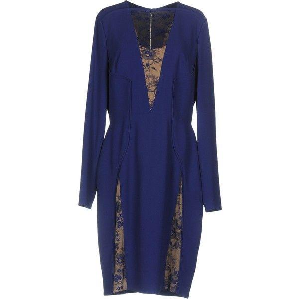 Elie Saab Knee-length Dress (5.535 BRL) ❤ liked on Polyvore featuring dresses, purple, long sleeve dress, long-sleeve lace dress, long sleeve knee length dress, zipper dress and blue tube dress