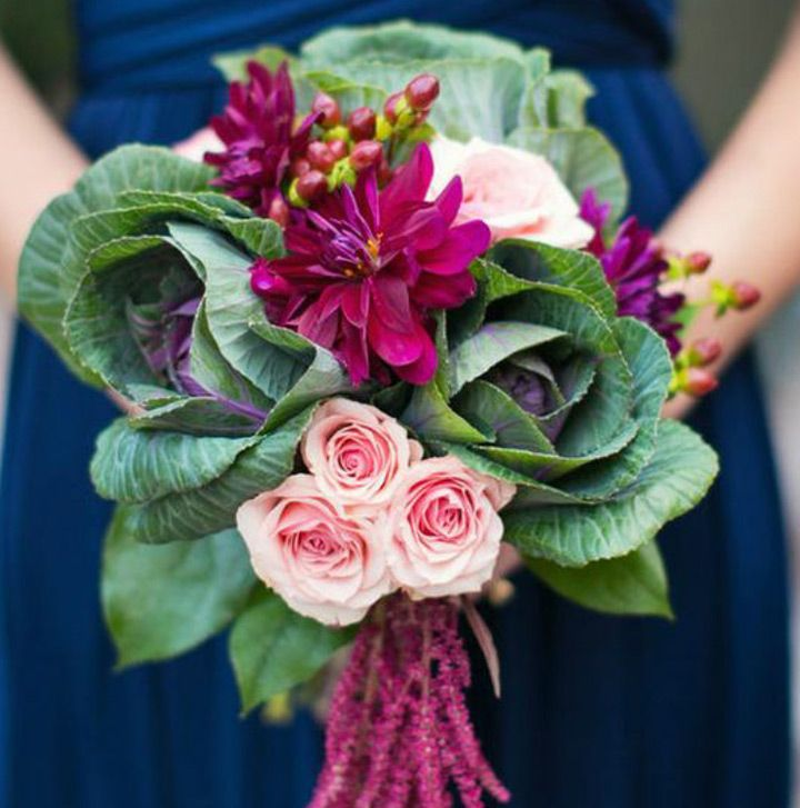 gorgeous kale wedding bouquet ~  we ❤ this! moncheribridals.com
