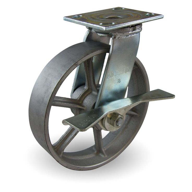 """8"""" x 2"""" Cast Iron Wheel with Spokes Industrial Swivel Caster with Brake.. buy two one without brake for kitchen DIY island with ikea tablex2"""