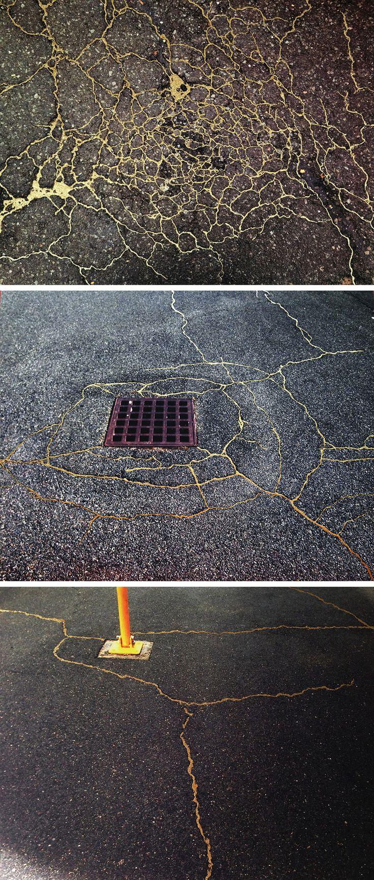 Prometheus: Hardcore kintsugi. Street Kintsugi: Artist Rachel Sussman 'Repairs' the Roads with Gold