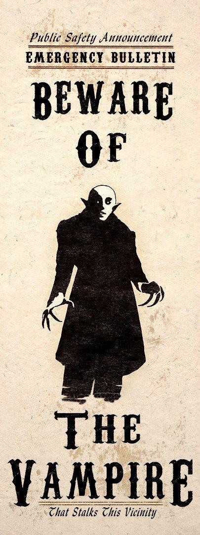 Gothic Horror-Kunstdruck Vorsicht Vampire Nosferatu Wand Poster