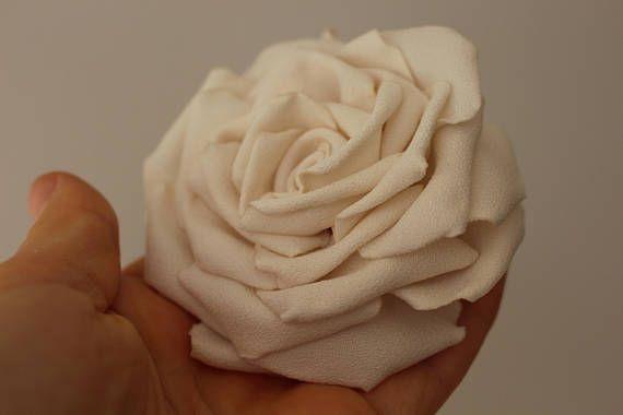 Ivory Rose brooch,Cream Flower Brooch Pin,Bridal Sash Belt,Wedding hair rose,bridal hair clip Hair Piece fascinator,gift for her woman girls