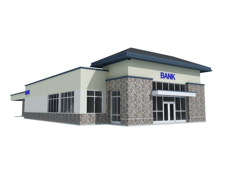 3Ds Max Commercial Bank - 3D Model