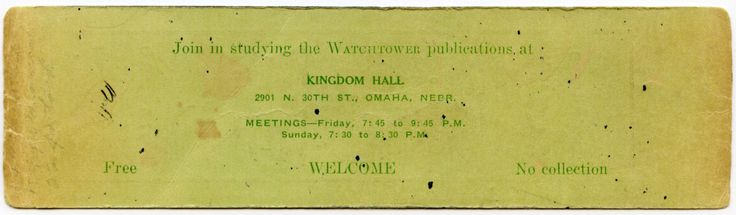 Bookmark for first Kingdom Hall we attended