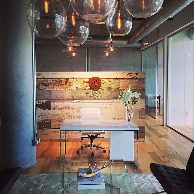 Superior I Like The Theme Of The Office With The Large Glass Bulbs, Reclaimed Wood  And