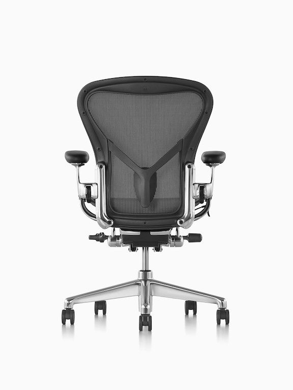 Black Aeron Office Chair With Black Base Viewed From The Back Aeron Office Chair Chair Office Chair