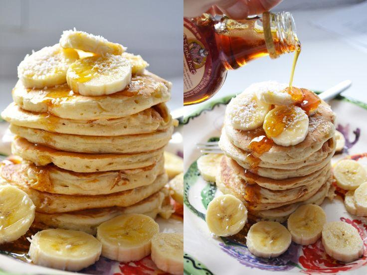 maple vanilla coconut banana pancakes breakfast treat easy recipe better baking bible blog shredded pour