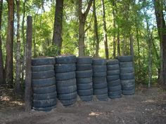 Tire and dirt backstop for home shooting range
