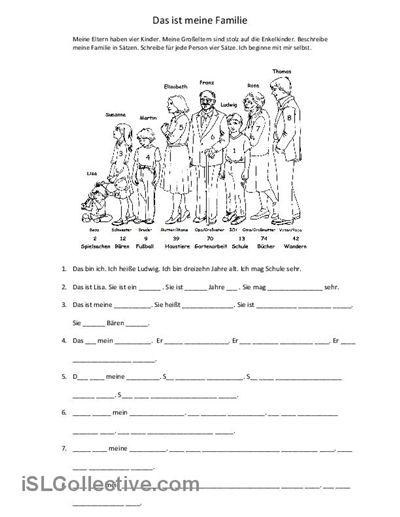 Familie Arbeitsblatt - Kostenlose DAF Arbeitsblätter
