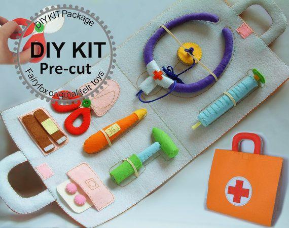 Feutre feutre de jouets sac médical médecin Set-K-T22 par fairyfox